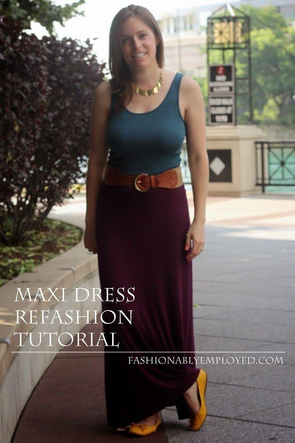 #DIY maxi dress #refashion #tutorial - casual style - www.honestlymodern.com