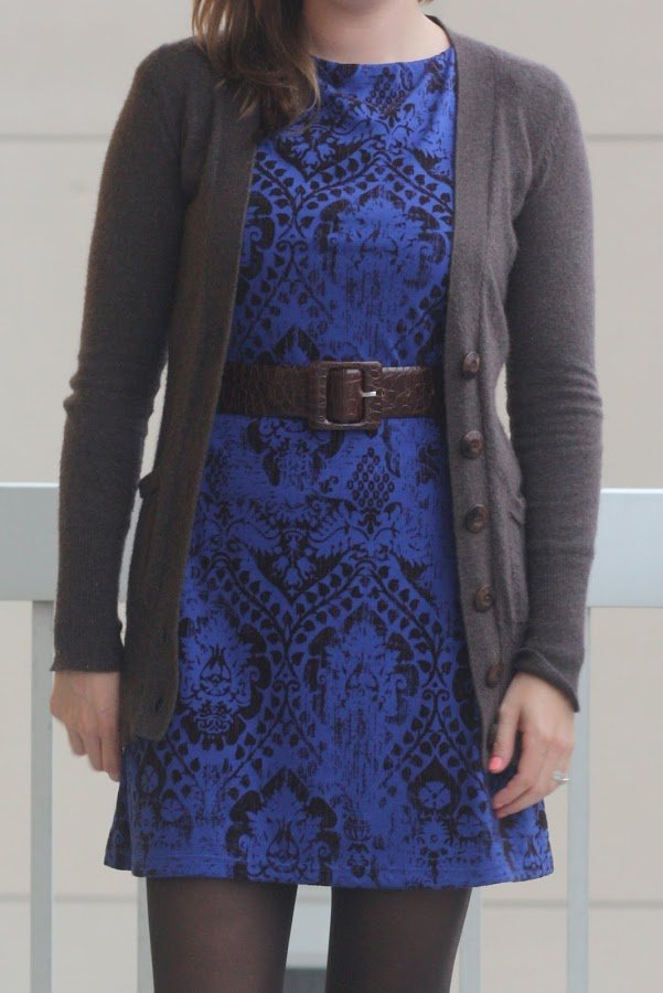 blue and brown dress with brown cardigan - wear to work, office - www.honestlymodern.com