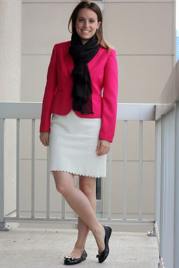 thrifted pink JCrew blazer, thrifted white LOFT skirt, black scarf and blouse   wear to work, office, business casual or business formal   www.honestlymodern.com