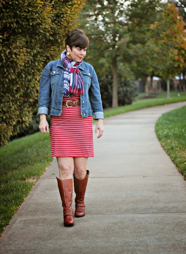 red and white striped knit dress with denim jacket, belt, cognac boots, and scarf   casual or dressy casual for fall   featured contributor to Sophisticated Style link up at www.honestlymodern.com