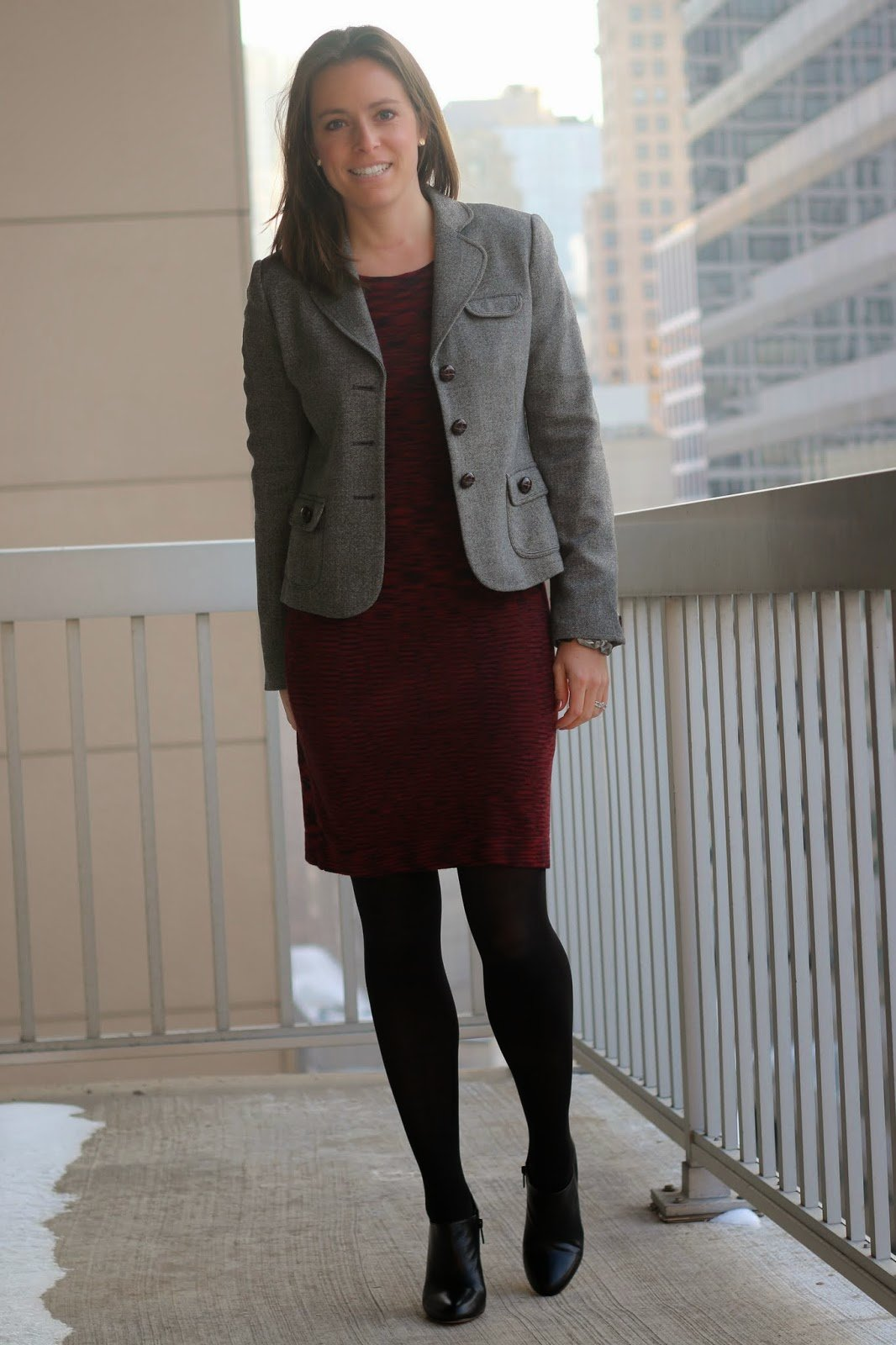 FashionablyEmployed.com   Valentine's Day Style: Desk to Dinner Date   Red sweater dress, black tights and booties, gray moto jacket or gray blazer   work to weekend style