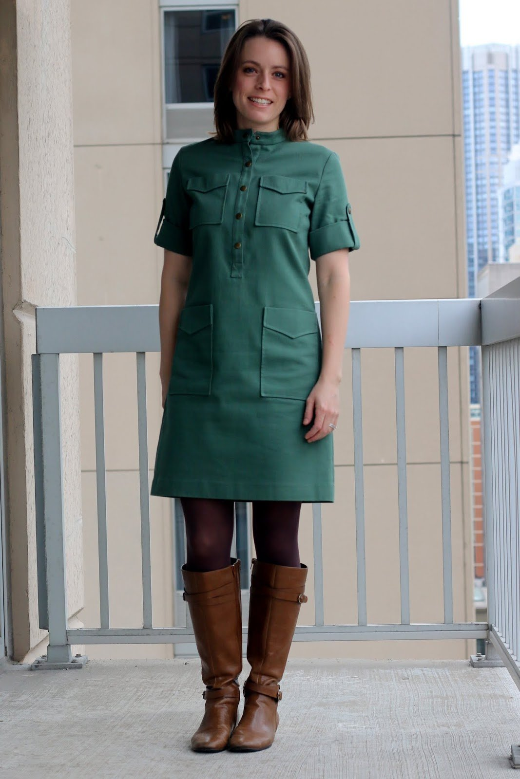 Thrifted Emerson Fry green dress with tights and cognac boots | Made in the USA | wear to work outfit, office style, business casual to brunch