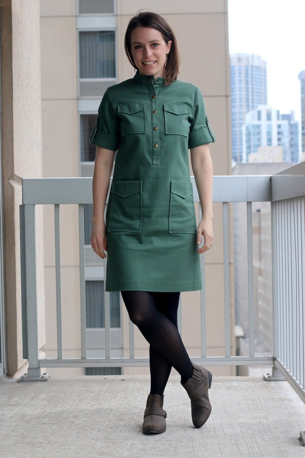 Thrifted Emerson Fry green dress with tights and gray boots | Made in the USA | wear to work outfit, office style, business casual to brunch