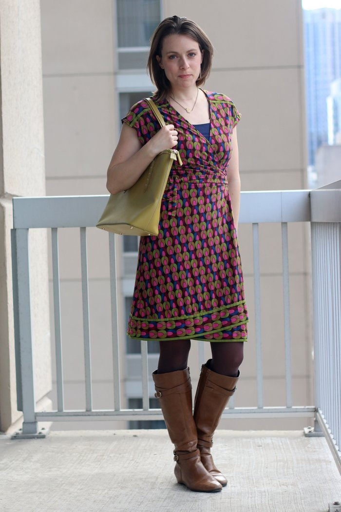FashionablyEmployed.com   pink and green geometric print wrap dress with cognac boots and bright green bag   women's work wear style, office outfit, business casual