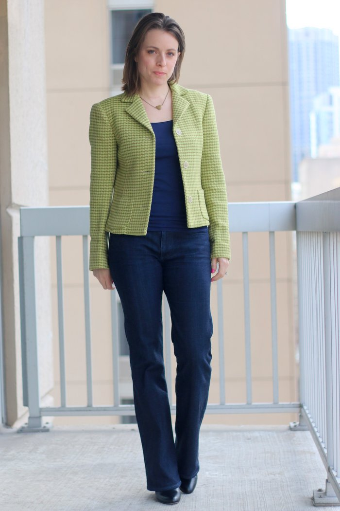 FashionablyEmployed.com   thrifted blazer and jeans with boots, casual Friday outfit for office, work style