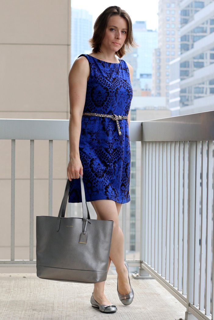 FashionablyEmployed.com | Everyday professional style for working moms | A blue and brown DIY refashioned dress with silver accents to illustrate the Rule of Three in creating balance in an outfit.
