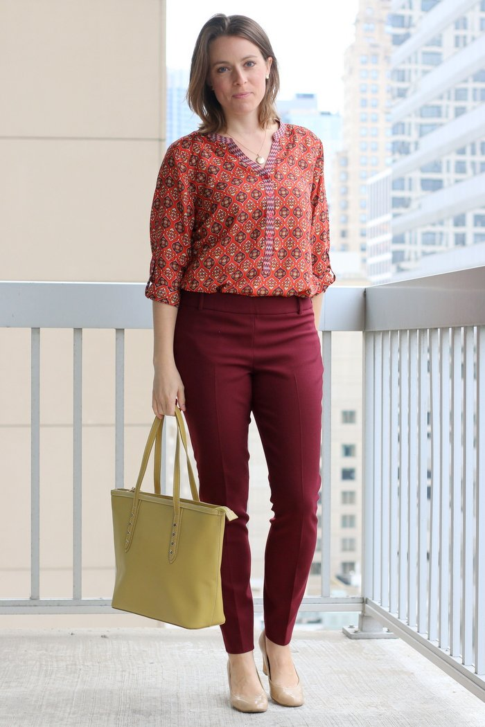 FashionablyEmployed.com | Orange + Burgundy Patterned Blouse Styled 3 Ways for Fall | Simple and sustainable work wear style for everyday professional women | wear to work style, office outfit ideas, casual Friday