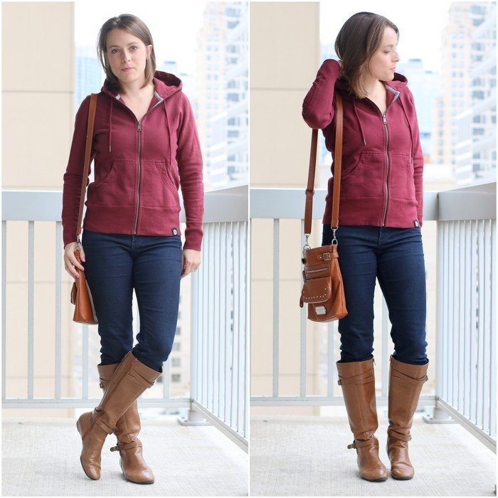 FashionablyEmployed.com   Casual style for an easy going work from home casual Friday, American Giant Greatest Hoodie Ever Made with thrifted jeans and cognac boots and crossbody bag   Simple and sustainable style for everyday professional women   work wear, office style