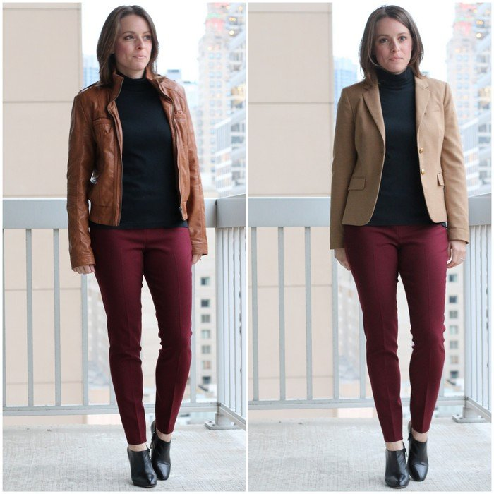 FashionablyEmployed.com | Burgundy pants, black top and camel jacket | work to weekend remix style | workwear, weekend style, outfit