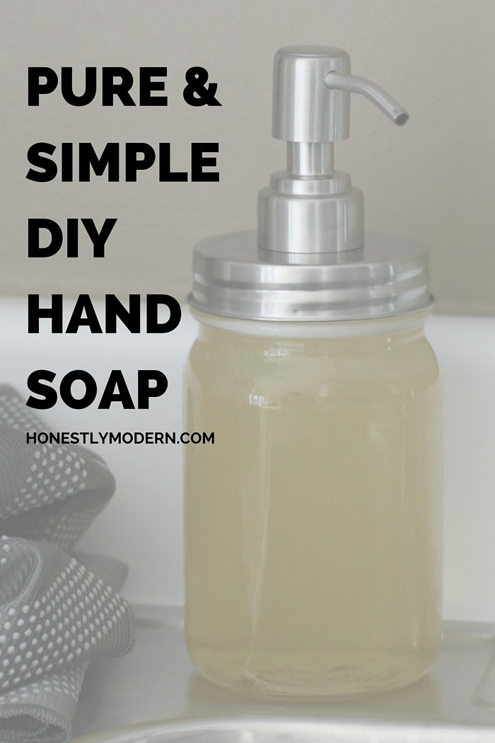 Enough of all the unknown chemicals in our homes? Home made soap with simple ingredients in a vintage mason jar not only is good for your hands but also looks great on your counter. Click through for the details on how to make your own!