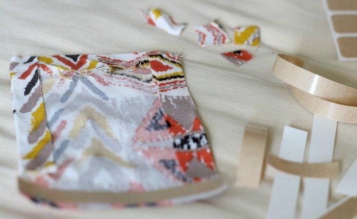 edges folded over bonding tape to create clean sides on pocket