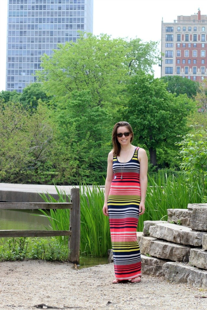 striped maxi dress in summer style