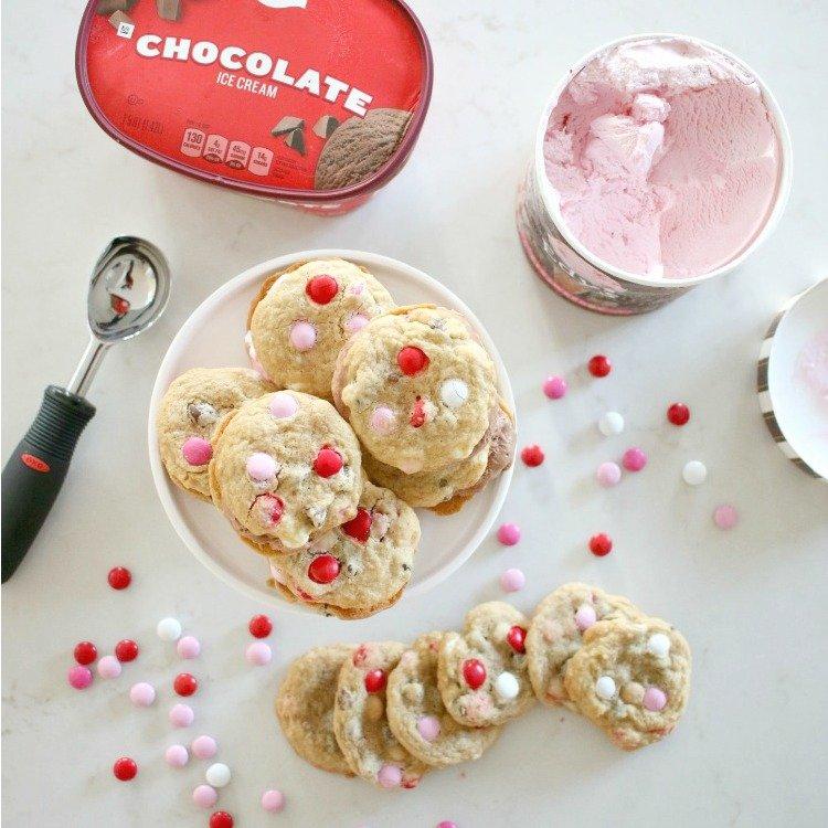 Valentine's Day Strawberry Ice Cream Sandwiches