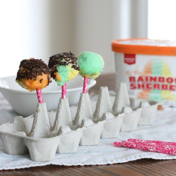 Refreshing Rainbow Sherbet Ice Cream Pops