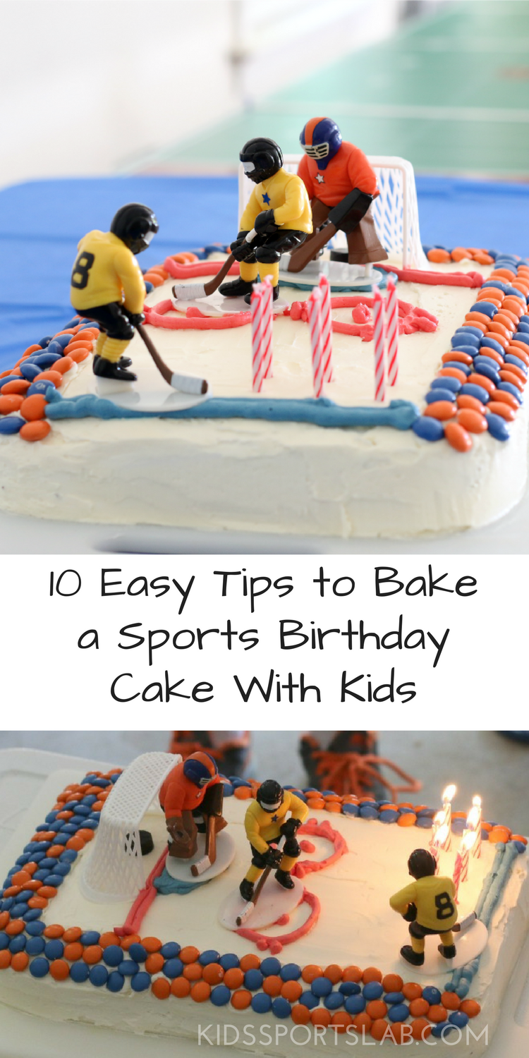 Invite your kids to join you in the kitchen to bake their own sports-themed birthday cake. It's easier than you think. You can definitely do it, and it's a great way to introduce kids to the kitchen.