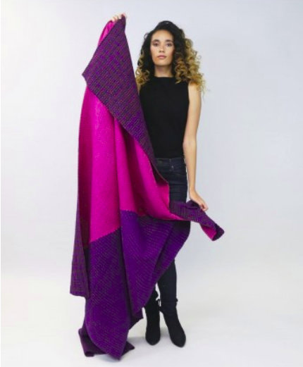 Large Bias Throw in Fuchsia and Violet