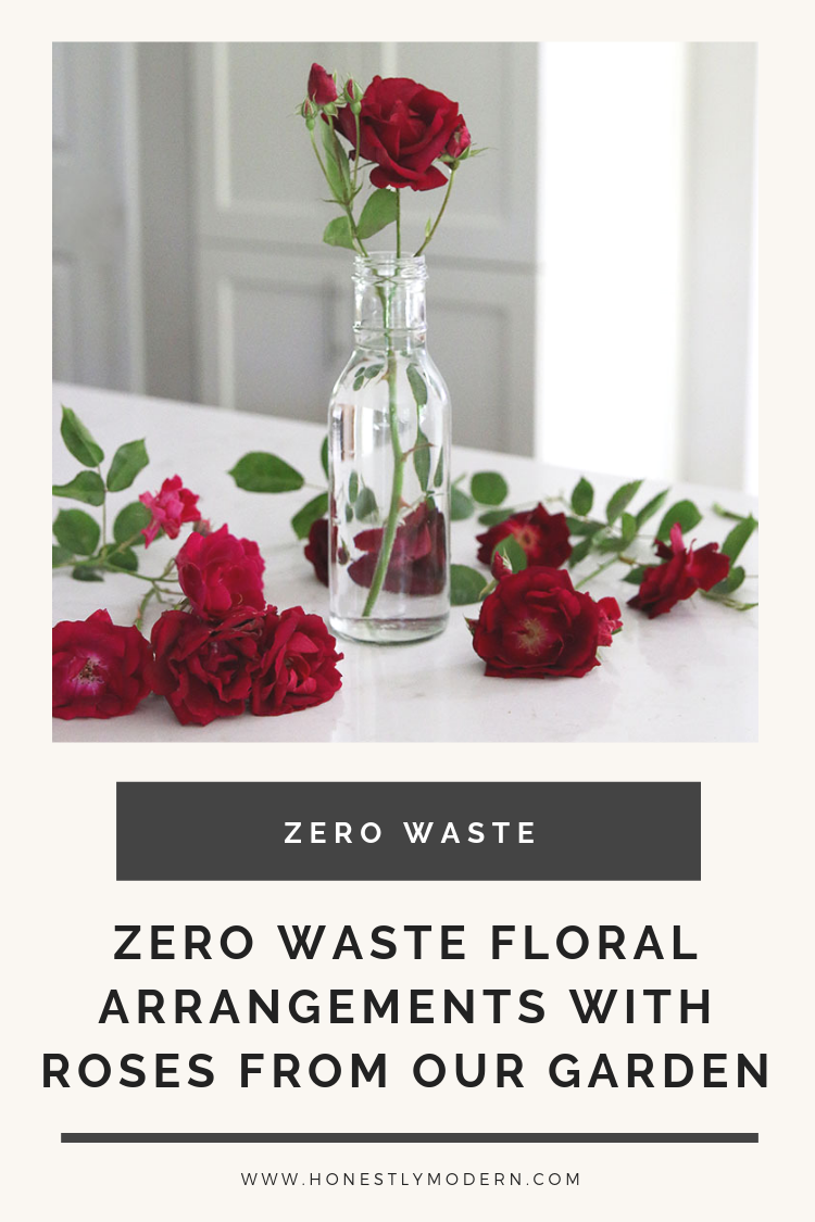 Celebrating simple zero waste wins like this little bouquet of roses, fresh cut from our garden and placed in an upcycled salad dressing bottle turned vase.   #HonestlyModern #familiesdozerowaste #zerowaste #OurHonestGarden