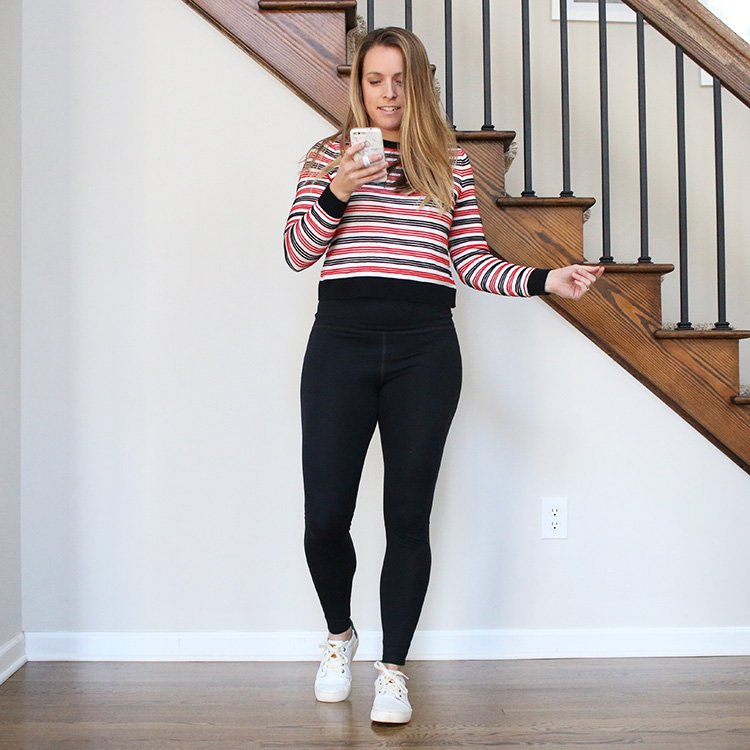 Peace by Piece | Secondhand Sweater, Leggings and White Tennis Shoes