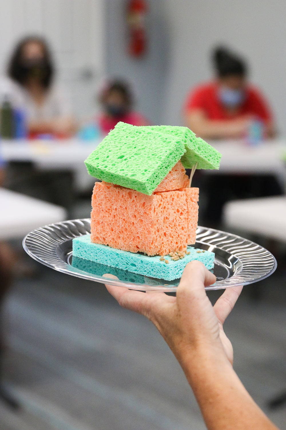 holding up a sprout house made of sponges