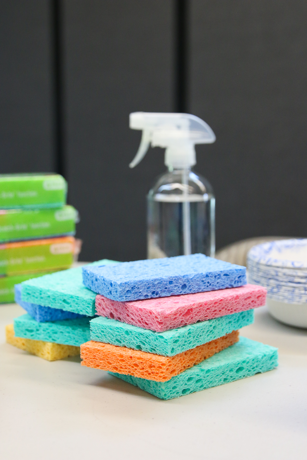 pile of sponges and a spray bottle of water - materials to build a sprout house